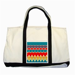 Chevrons And Rhombus			two Tone Tote Bag by LalyLauraFLM