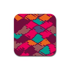 Pieces In Retro Colors			rubber Square Coaster (4 Pack by LalyLauraFLM