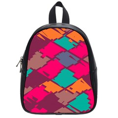 Pieces In Retro Colors			school Bag (small) by LalyLauraFLM