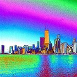 Chicago Colored Foil Effects #1 DAD 3D Greeting Card (8x4)  Inside