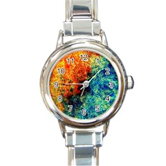 Orange Blue Background Round Italian Charm Watches