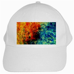 Orange Blue Background White Cap by Costasonlineshop