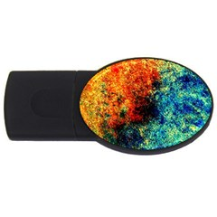 Orange Blue Background Usb Flash Drive Oval (2 Gb)  by Costasonlineshop