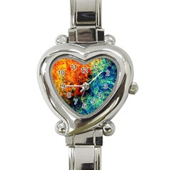 Orange Blue Background Heart Italian Charm Watch by Costasonlineshop