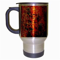 Orange Blue Background Travel Mug (silver Gray) by Costasonlineshop