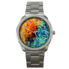 Orange Blue Background Sport Metal Watches by Costasonlineshop