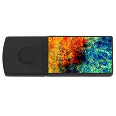 Orange Blue Background Usb Flash Drive Rectangular (4 Gb)