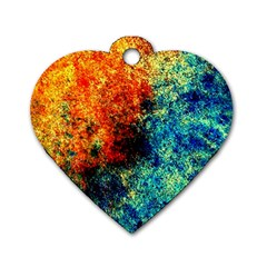 Orange Blue Background Dog Tag Heart (one Side) by Costasonlineshop