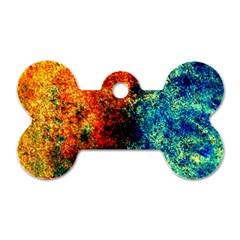 Orange Blue Background Dog Tag Bone (one Side) by Costasonlineshop