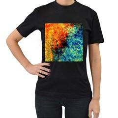 Orange Blue Background Women s T Shirt (black) by Costasonlineshop