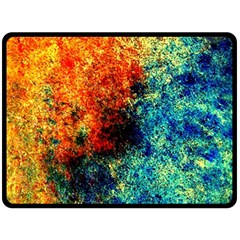 Orange Blue Background Fleece Blanket (large)  by Costasonlineshop