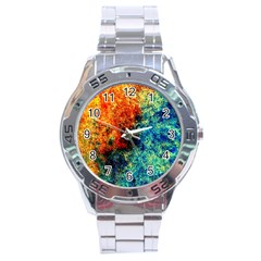 Orange Blue Background Stainless Steel Men s Watch by Costasonlineshop
