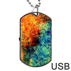 Orange Blue Background Dog Tag Usb Flash (one Side) by Costasonlineshop