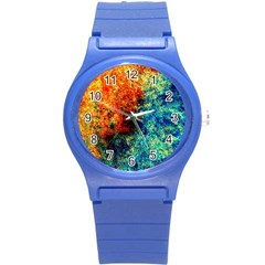 Orange Blue Background Round Plastic Sport Watch (s) by Costasonlineshop