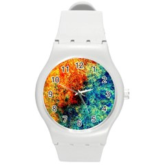 Orange Blue Background Round Plastic Sport Watch (m) by Costasonlineshop