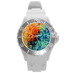 Orange Blue Background Round Plastic Sport Watch (l) by Costasonlineshop