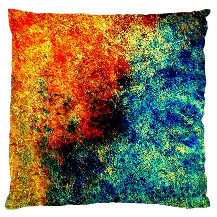 Orange Blue Background Large Flano Cushion Cases (Two Sides)