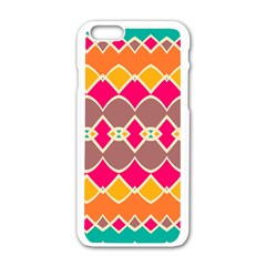 Symmetric Shapes In Retro Colors			apple Iphone 6/6s White Enamel Case by LalyLauraFLM