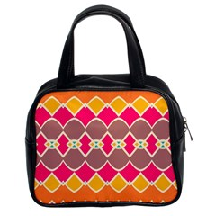 Symmetric Shapes In Retro Colors Classic Handbag (two Sides) by LalyLauraFLM