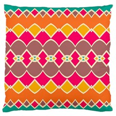 Symmetric Shapes In Retro Colors 	large Flano Cushion Case (two Sides) by LalyLauraFLM