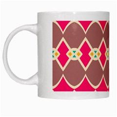 Symmetric Shapes In Retro Colors White Mug by LalyLauraFLM