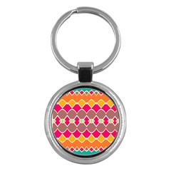Symmetric Shapes In Retro Colors			key Chain (round) by LalyLauraFLM