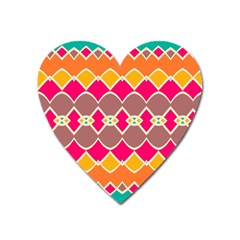 Symmetric Shapes In Retro Colors			magnet (heart) by LalyLauraFLM