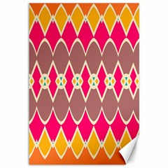 Symmetric Shapes In Retro Colors			canvas 12  X 18  by LalyLauraFLM