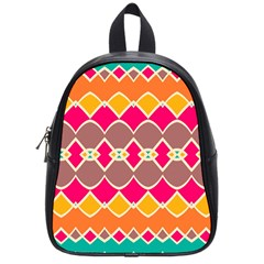 Symmetric Shapes In Retro Colorsschool Bag (small) by LalyLauraFLM