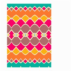 Symmetric Shapes In Retro Colors Small Garden Flag by LalyLauraFLM