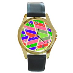 Symmetric Distorted Rectangles			round Gold Metal Watch by LalyLauraFLM