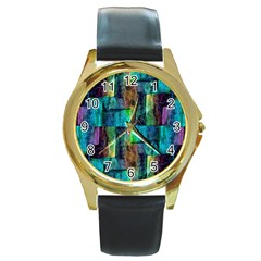 Abstract Square Wall Round Gold Metal Watches