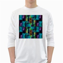 Abstract Square Wall White Long Sleeve T Shirts by Costasonlineshop