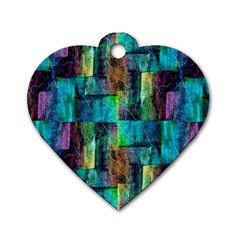Abstract Square Wall Dog Tag Heart (two Sides) by Costasonlineshop