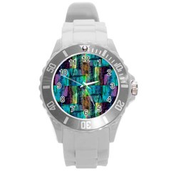 Abstract Square Wall Round Plastic Sport Watch (l) by Costasonlineshop