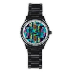 Abstract Square Wall Stainless Steel Round Watches by Costasonlineshop