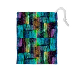 Abstract Square Wall Drawstring Pouches (large)  by Costasonlineshop