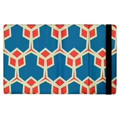 Orange Shapes On A Blue Background			apple Ipad 3/4 Flip Case by LalyLauraFLM