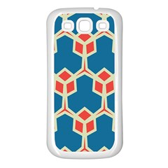 Orange Shapes On A Blue Background			samsung Galaxy S3 Back Case (white) by LalyLauraFLM