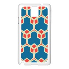 Orange Shapes On A Blue Background			samsung Galaxy Note 3 N9005 Case (white) by LalyLauraFLM
