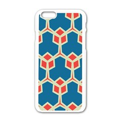 Orange Shapes On A Blue Background			apple Iphone 6/6s White Enamel Case by LalyLauraFLM