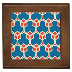 Orange Shapes On A Blue Background			framed Tile by LalyLauraFLM