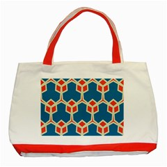 Orange Shapes On A Blue Backgroundclassic Tote Bag (red) by LalyLauraFLM