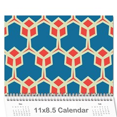 Orange Shapes On A Blue Background 18 Month Calendar by LalyLauraFLM