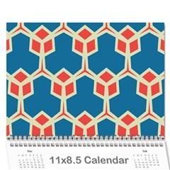 Orange Shapes On A Blue Background 18 Month Calendar