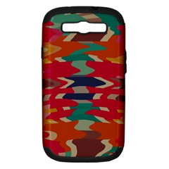 Retro Colors Distorted Shapes			samsung Galaxy S Iii Hardshell Case (pc+silicone) by LalyLauraFLM