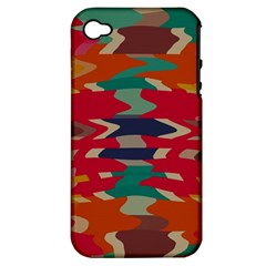 Retro Colors Distorted Shapes			apple Iphone 4/4s Hardshell Case (pc+silicone) by LalyLauraFLM