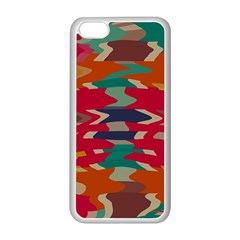 Retro Colors Distorted Shapesapple Iphone 5c Seamless Case (white) by LalyLauraFLM