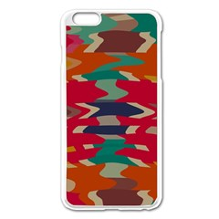 Retro Colors Distorted Shapes			apple Iphone 6 Plus/6s Plus Enamel White Case by LalyLauraFLM