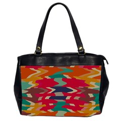 Retro Colors Distorted Shapes Oversize Office Handbag (2 Sides) by LalyLauraFLM